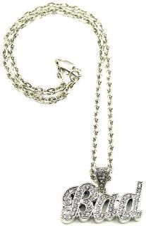 bad new style pendant and 18 inch link necklace iced
