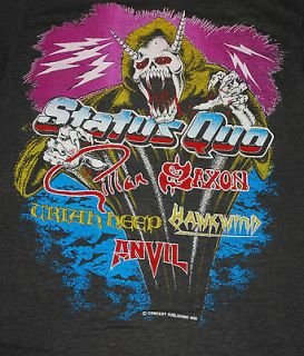 VINTAGE MONSTERS OF ROCK ANVIL SAXON STATUS QUO 82 T  SHIRT 1980S