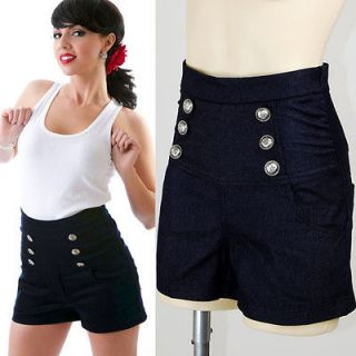 Rare Denim Jeans Anchor Button High Waisted Rockabilly Shorts Hotpants