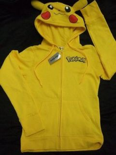 YELLOW POKEMON PIKACHU EARS & TAIL HOODIE SWEATER ANIME NINTENDO XL