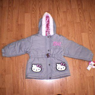 Girls HELLO KITTY Winter Hooded Bubble Jacket Coat Parka New WT $70 2T