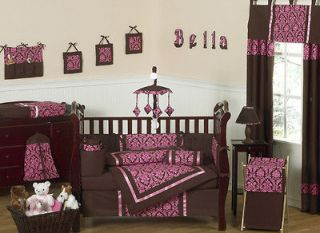 Newly listed PINK AND BROWN DAMASK BABY BEDDING CRIB SET FOR NEWBORN