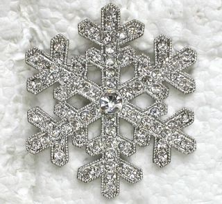 CLEAR RHINESTONE CRYSTAL SNOWFLAKE PIN BROOCH for BRIDAL WEDDING PARTY