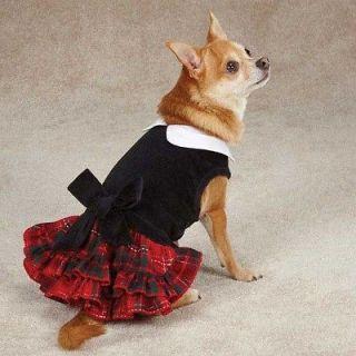 XXSMALL Black Velvet Tartan Plaid Dog Dress Christmas Chihuahua tea