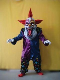 oversized evil creepy clown mask costume blue red ta111