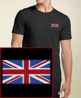 British Flag EMBROIDERED Union Jack Black T Shirt England UK *NEW*