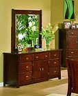 Solid Wood Fully Assembled Dresser & Mirror , Cherry Finish