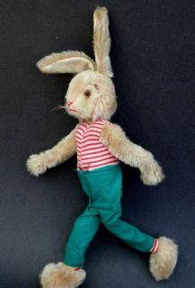 Germany Mohair Plush Bunny Rabbit Doll Wire Flex Body No ID c1950s