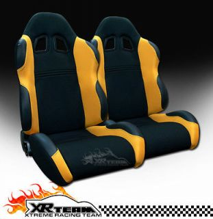 2x Universal LH+RH Blk/Yellow Fabric & PVC Leather Racing Seats