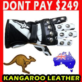 Shark TPSW Extreme Kangaroo Leather Motorcycle Road Race Gloves