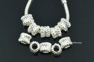 5x, 10x, 20x Wave Pattern Silver Charm Beads Fit European Chain