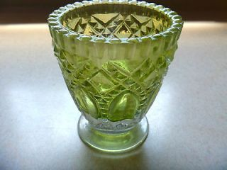 Vintage GLASS SPOONER lime green stain diamond pointed oval pressed