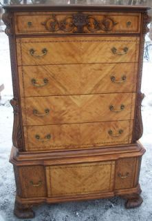 French Provincial Exotic Satinwood Marquetry Antique Dresser/Chest