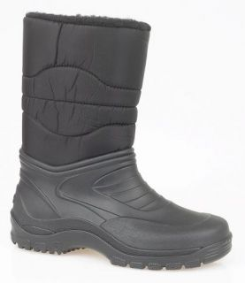 MENS SNOW BOOTS WINTER THERMAL WELLIES BLACK SIZE 7   12 NEW