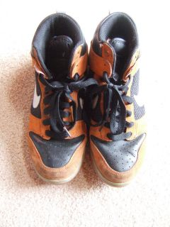Mens Nike Black & Orange Suede High Top Sneakers Shoes Size 8 Retro