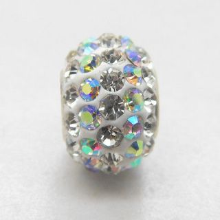 sterling silver core very beautiful sparkling crystal charm bead WPU09