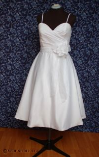 Forever Yours 49201 White Satin Tea Length Wedding Formal Dress 14