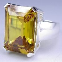 sterling silver extra large yellow cz cocktail ring more options