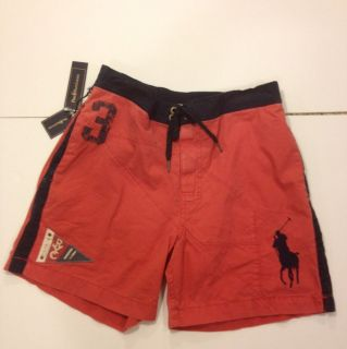 Polo Ralph Lauren Mens Swim Trunks Big Pony Red and Blue NWT Size S