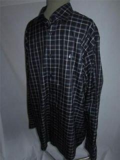 L TALL 17/37 38 NWOT Black Plaid Dress Shirt Sailboat Logo