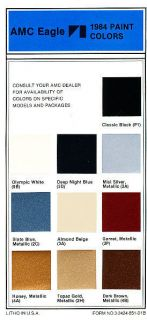 1984 AMC Paint Color Brochure Guide Sheet   Eagle Spirit Concord