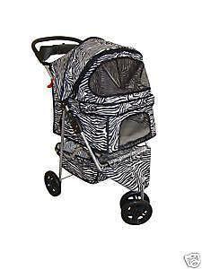 new bestpet 3 wheel zebra pet dog cat stroller time