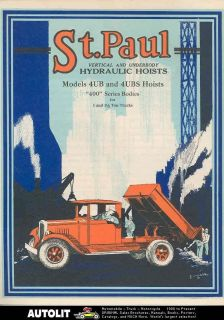 1928 St. Paul 1 1.5 Ton Hoist Dump Truck Body Brochure