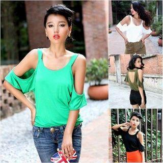 Fashion Womens Punk Cut Out Shoulder Backless Cotton Top T Shirt