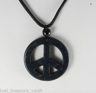 Dyed Howlite Stone Black Peace Sign Adjustable Black Cord Necklace