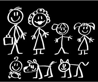stick people family car decals stickers 4 color pink more