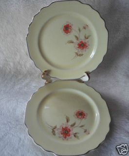 George Lido Canarytone169A Dinner Plates Pink & Orange Flower
