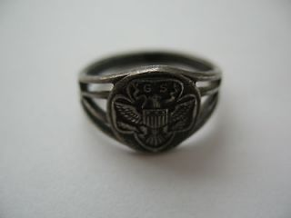 vintage sterling silver girl scout ring size 6 eagle gs