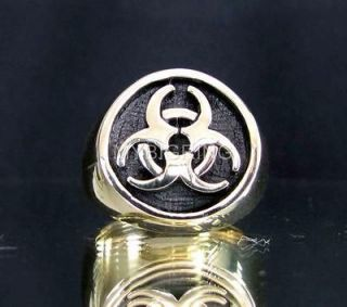 Newly listed BRONZE RING TOXIC WASTE BIOHAZARD SYMBOL POISON EVIL TT