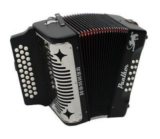 Hohner 3100GB Panther Diatonic Accordion GCF Black with Book and Cloth