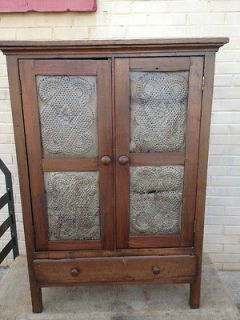 antique pie safe with tin fronts and sides time left