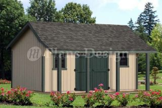 Cape Bonnet Roof Style,16x16 Shed with Porh Plans #P81616, Free