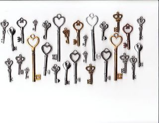 Old Look Antique Skeleton REPLICA keys Ast Styles HEART CHARMS skelton