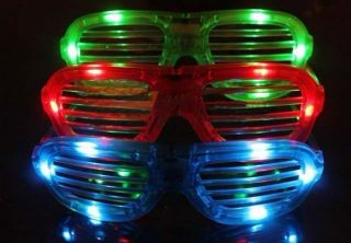 Multy Popular Red LED Flashing Light Up Glasses Slotted Shutter Shades