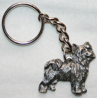 chinese crested powder puff pewter keychain key ring time left