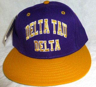 Baseball Cap DELTA TAU DELTA Purple hat and Yellow brim Size 7 1/8