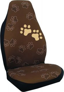 DOG DOGGIE PUPPY PAW PRINTS 3 PC SET SEAT COVERS & STEERING WHEEL