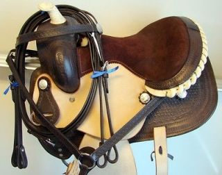 12 DARK BROWN WESTERN MINI PONY SADDLE barrel racer trail horses show
