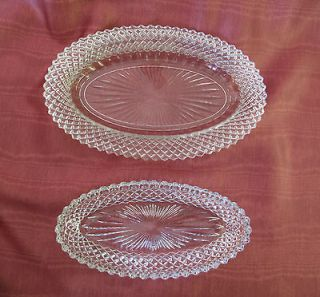 VINTAGE ELEGANT GLASSWARE Diamond Point OVAL RELISH BOWL AND SAUCER