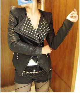 Punk Spike Studded Shoulder PU Leather Cropped Jacket Coat Style A