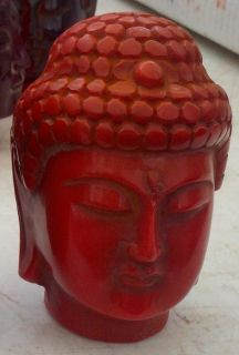 CORAL COLOR HAND CARVED BUDDHA HEAD QUAN YIN STATUE IDOL GOD TIBETAN