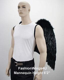 XL wingspan Black Costume Feather Wings Archangel Angel Demon Props