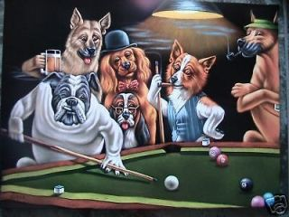 DOGS PLAYING POOL BLACK VELVET OIL PAINTING,100% HANDPAINTED 24 BY 36