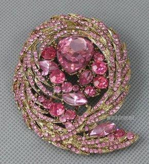 Scharmant Rose Pink Rhinestone Crystal Brooch Pin For Wedding Gift