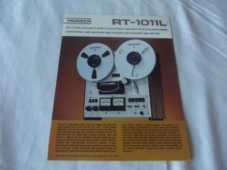 PIONEER RT 1011L Reel to Reel Tape Deck Original Catalog / Brochure X