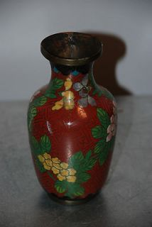 Cloisonne Chinese China Bronze Vase Red Pink Black Floral AS IS